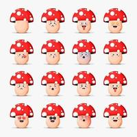 Cute mushrooms with emoticons set vector