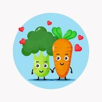 Cute broccoli and carrot holding hands vector