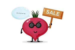 Cute beetroot mascot with the sales sign vector