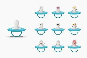 Cute baby niple mascot set vector