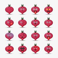 Cute beetroot with emoticons set vector