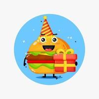 Cute burger mascot on birthday vector
