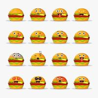 Cute burger with emoticons set vector