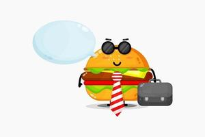 Cute burger mascot goes to office vector