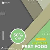 Burger food promo social media template vector
