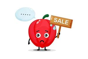 Cute bell pepper mascot with the sales sign vector