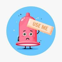 Cute condom mascot asks to be used vector