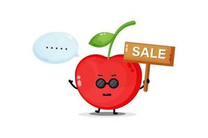 Cute cherry mascot with the sales sign vector