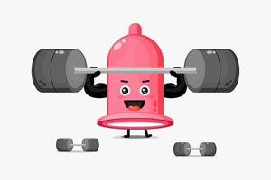 Cute condom mascot lifting a barbell vector
