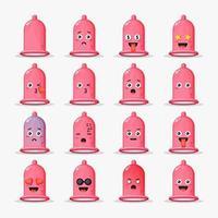 lindo condón con emoticonos vector