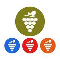 Conjunto de uvas sobre fondo blanco. vector