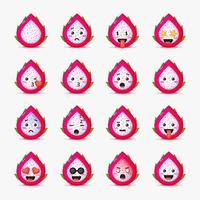 Cute dragon fruit with emoticons set vector