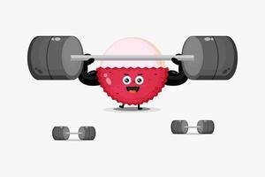 Cute lychee mascot lifting a barbell vector