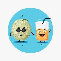 Cute melon and melon juice mascot holding hands vector