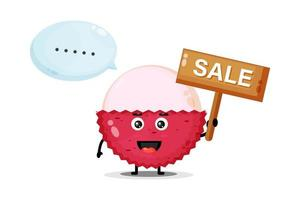 Cute lychee mascot with the sales sign vector