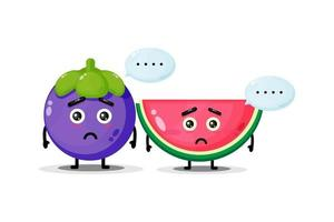 Cute mangosteen and watermelon mascot with sad expression vector
