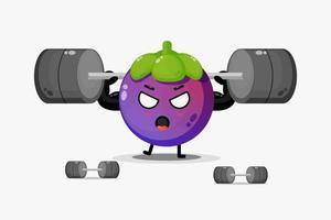 Cute mangosteen mascot lifting a barbell vector