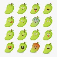 Cute mango with emoticons set vector