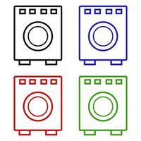 Set Of Washing Machine On White Background vector