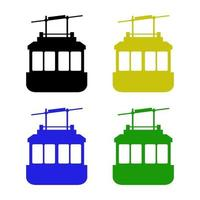 Set Of Cable Car On White Background vector