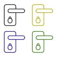 Door Handle Set On White Background vector