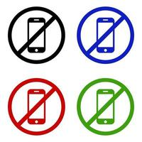 Set Of Smartphone Ban On White Background vector