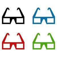 Set Of Cinema Glasses On White Background vector