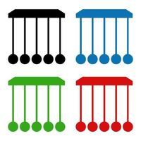 Set Of Newton's Cradle On White Background vector