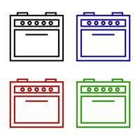 Oven Set On White Background vector