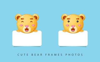 Cute bear photo frames vector