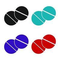 Set Of Pills On White Background vector