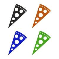 Set Of Pizza On White Background vector