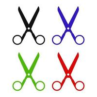 Set Of Scissor On White Background vector