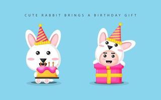 lindo conejito trae regalos de cumpleaños vector