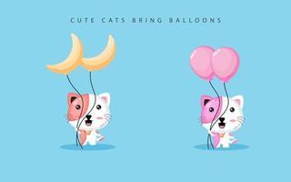 Cute cat carrying balloons vector