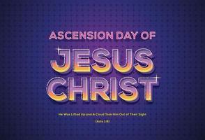 efecto de texto del día de la ascensión de jesucristo vector