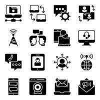 paquete de iconos sólidos de datos y redes vector