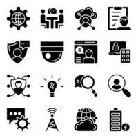paquete de iconos sólidos de redes vector