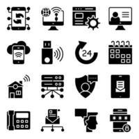 Pack de iconos sólidos de comunicación, tecnología y dispositivos. vector