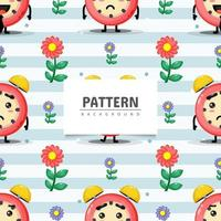 Seamless pattern alarm clock and flower vector