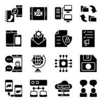 paquete de dispositivos y tecnología iconos sólidos vector