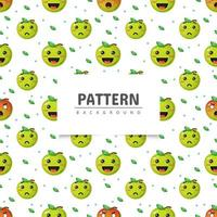 patrón sin costuras de manzana verde con expresión vector