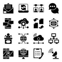 paquete de iconos sólidos de nube, tecnología y redes vector