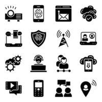 paquete de iconos sólidos de tecnología de comunicación vector