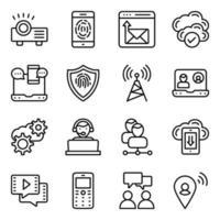 paquete de iconos lineales de tecnología de comunicación vector