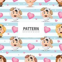 Cute dog mascot seamless pattern background vector