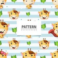Cute giraffe seamless pattern background vector