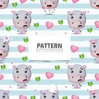 Cute hippopotamus seamless pattern background vector