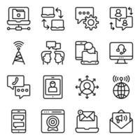 paquete de iconos lineales de datos y redes vector