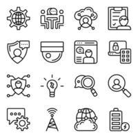 paquete de iconos lineales de redes vector